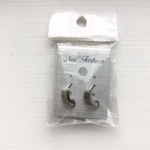 Silver ridged small hoop earrings